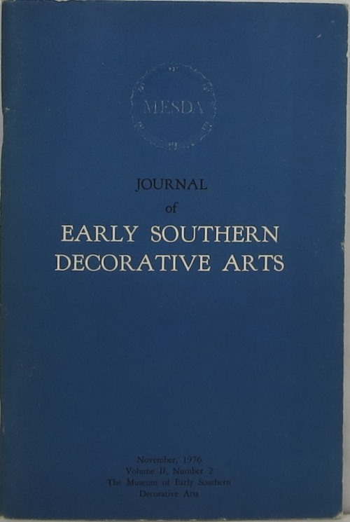 Image for Journal of Early Southern Decorative Arts, Volume II, Number 2