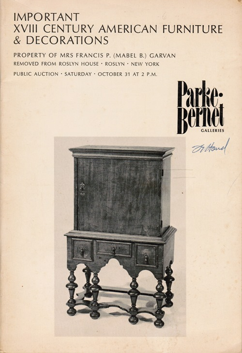 Image for Important XVIII Century American Furniture & Decorations: Property of Mrs Francis P. (Mable B.) Garvan, Removed from Roslyn House, October 31, 1970 (Sale 3106)
