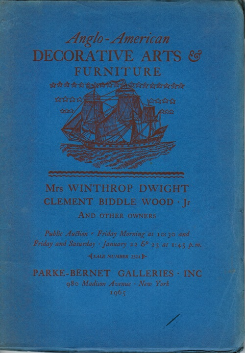 Image for Anglo-American Decorative Arts & Furniture, New York, January 22 & 23, 1965 (Sale 2324): Mrs. Winthrop Dwight, Clement Biddle Wood, Jr, and Other Owners
