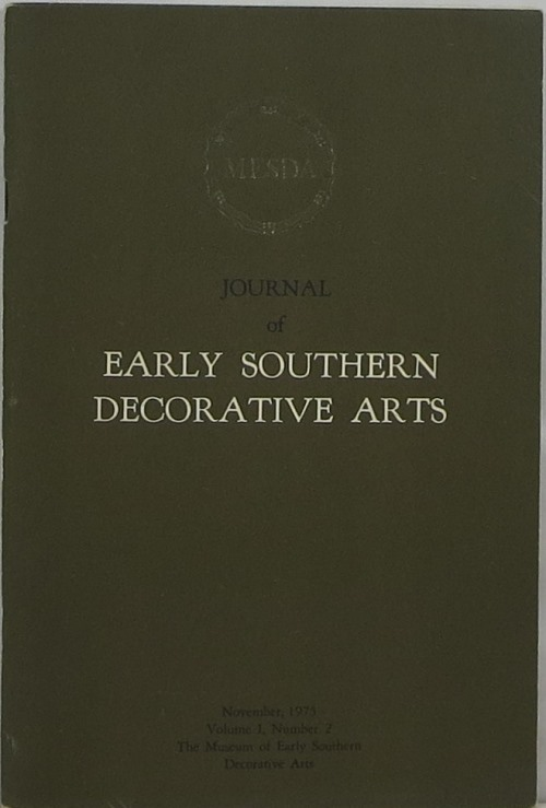 Image for Journal of Early Southern Decorative Arts: Volume I, Number 2