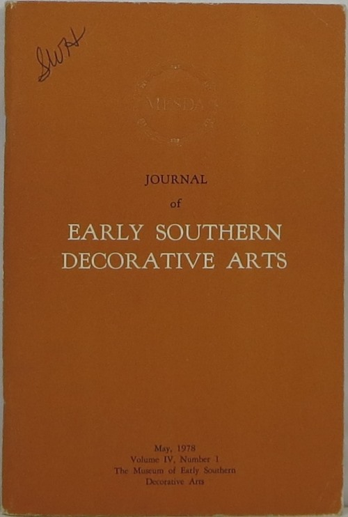 Image for Journal of Early Southern Decorative Arts: Volume IV, Number 1
