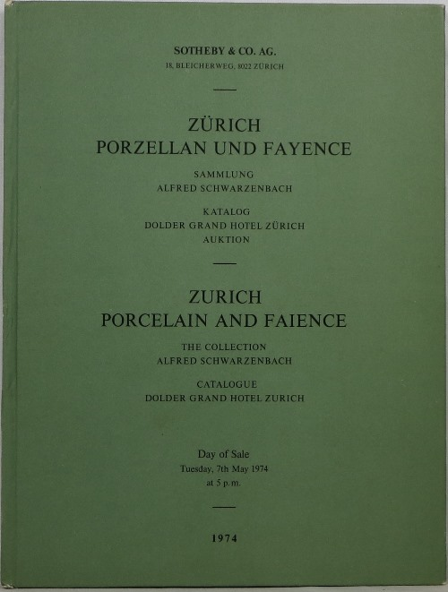 Image for Zurich Porcelain and Faience: The Collection of Alfred Schwarzenbach, May 7, 1974