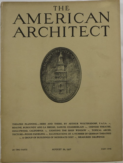 Image for The American Architect, Number 2527, in Two Parts, August 20, 1927