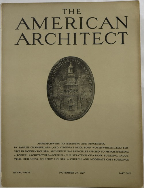 Image for The American Architect, Number 2533, in Two Parts, November 20, 1927