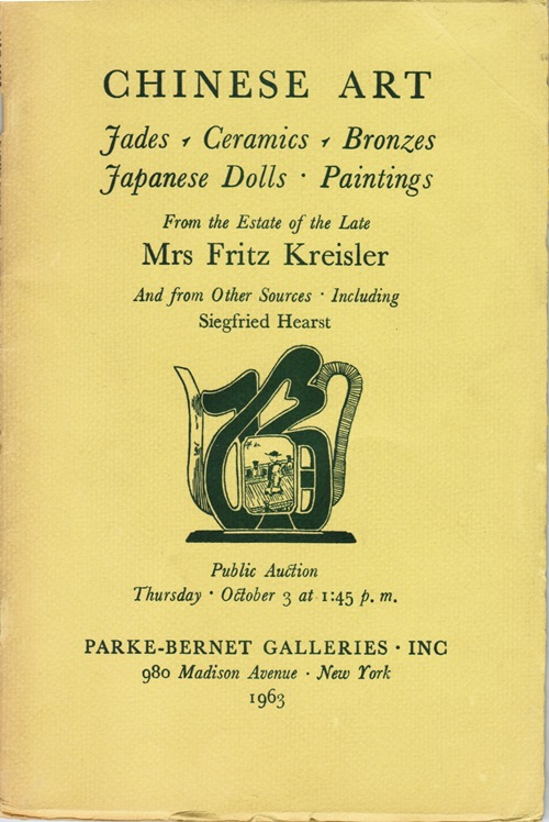 Image for Chinese Art, Jades, Ceramics, Bronzes, Japanese Dolls, Paintings, From the Estate of the Late Mrs. Fritz Kreisler and from Other Sources, Including Siegfried Hearst, Sale 2208, New York, October 3, 1963