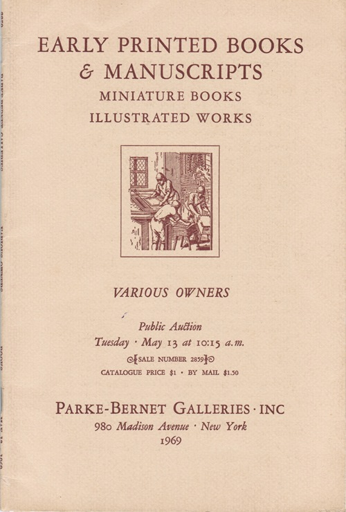 Image for Early Printed Books & Manuscripts, Miniature Books, Illustrated Works, New York, May 13, 1969 (Sale 2859)