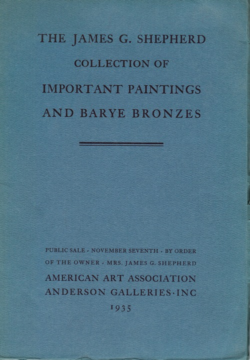 Image for The James G. Shepherd Collection of Important Paintings and Barye Bronzes, New York, November 7, 1935 (Sale 4199)