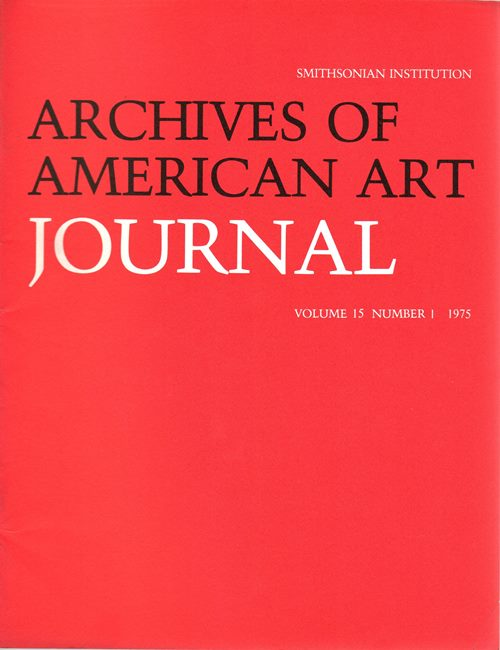 Image for Archives of American Art Journal, Volume 15, Number 1, 1975