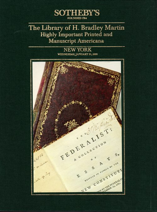 Image for The Library of H. Bradley Martin, Part VII: Highly Important Printed and Manuscript Americana, New York, January 31, 1990 (Sale 5972)