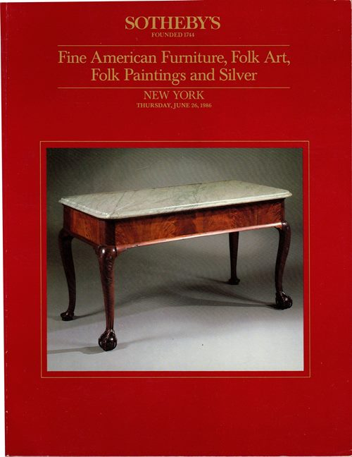Image for Fine American Furniture, Folk Art, Folk Paintings and Silver, New York, June 26, 1986 (Sale 5473)